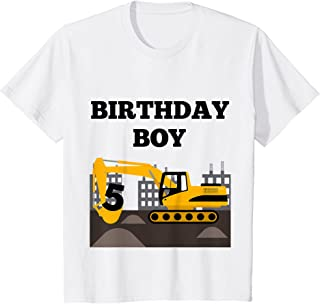 Enfant 5th Birthday Construction Theme Bulldozer Boy's T-Shirt