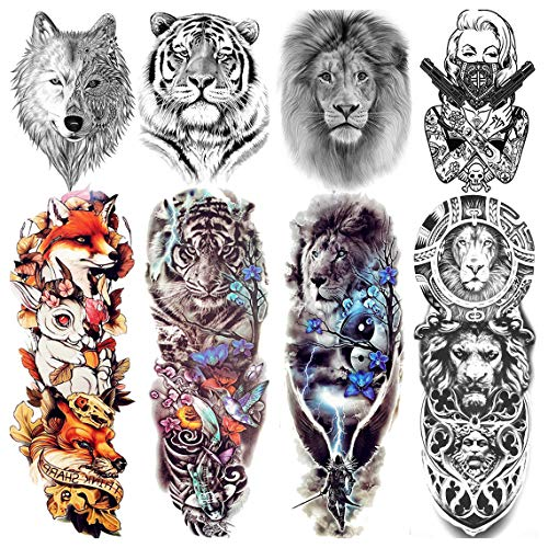 VANTATY 8 Sheets Extra Large 3D Realistic Animals Full Arm Temporary Tattoos For Men Women Fake Arm Sleeve Tattoo Maori Wolf Stickers Sexy Fox Tiger Flower Big Leg Tatoos Adults Gangster Girl Kid Lion