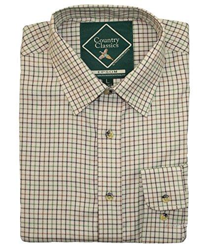 Country Classics - Camisa de cuadros de algodón grueso, para hombre, fácil cuidado, XXL, EPSOM-BROWN