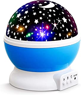 NEW GENERATION Baby Night Lights for kids, Lizber Starry Night Light Rotating Moon Stars Projector