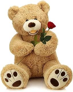 LApapaye 37 Inch Giant Teddy Bears Stuffed Animal Plush Toy with Footprints Big Bear,Light Brown