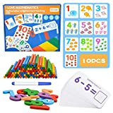 Wooden Number Sticks, Wooden Sticks Montessori Wooden Counting Toy Montessori Educational Toys Number Cards Counting Rods Toys Puzzle for 1 2 3 Year Old Gift Games Age 3 4 5 Birthday Gifts for Boys