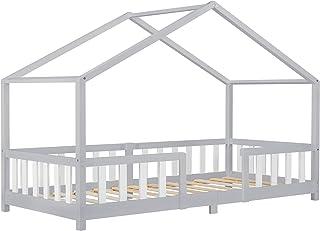Lit d'enfant Design en Forme Maison avec Grille de Protection Construction Solide Capacité de Charge 100 kg Bois de Pin Co...