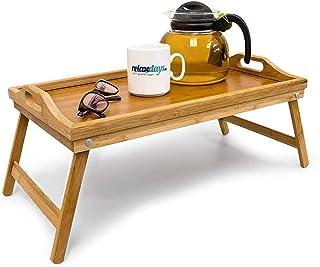 Relaxdays 10012858 Bandeja para Cama de bambú, mesita con