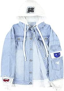 ZAFUL Unisex Casual Hooded Denim Jacket Ripped Letter Number Applique Embellished Distressed Hoodie Jacket