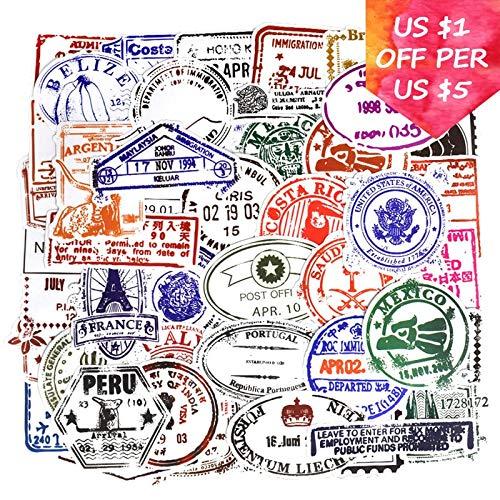 BLOUR transparante stickers voor koffer, motorfiets, autoaccessoires, voor fietsen, het invoeren van paspoorten, om zelf te maken, vintage stickers, 50 stuks