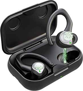 Auriculares Inalambricos Bluetooth 5.1 Deportivos, IPX7 Impermeable Cascos Inhalabricos Sport con 2 Tipos Ganchos de Oído,...