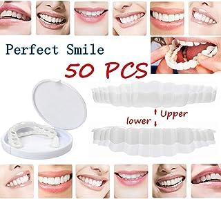 50ピース義歯義歯模擬歯笑顔ホワイトインスタントコンフォートベニア美容歯セット義歯ケア美容ツール(トップ+ボトム)