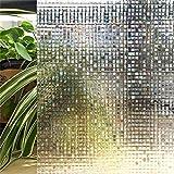 LQKYWNA Película De Ventana De Protección De Privacidad, Patrón De Mosaico 3D Película De Color Variable Autoadhesiva No Adhesiva para Ventanas Y Puertas De Vidrio para Baño (45x200cm)