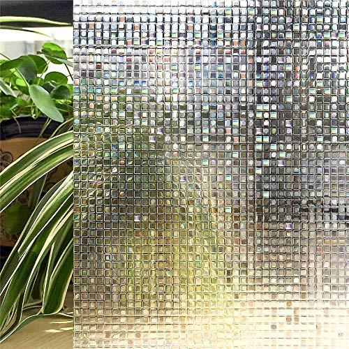 LQKYWNA Datenschutz Window Film, 3D-Mosaik-Muster Self Adhesive Non-Kleber Variable für Farbfilm Fenster & Bad Glastür (60x200cm)