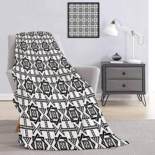Blanket Celtic Star Pattern with Arrows with Polka Dots Floral Canonical Design Perfect Choice for Bed and Sofa Black White W70 x L90 Inch