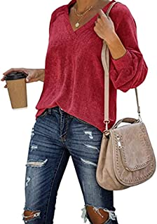 Womens Corduroy Shirts Casual Loose Fit Pullover Long Sleeve Sexy V Neck Blouse Warm Velvet Tunic Tops Red L
