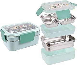 Lunch Box Bento Boîte,Deux niveaux enfants boîte à lunch boîte à bento boîtes de rangement en acier inoxydable contenant d...