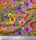 Soimoi Braun Georgette Viskose Stoff Blume & Blätter