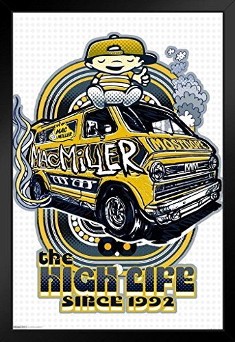 Pyramid America Mac Miller The High Life Since 1992 Music Swimming Poster from Vinyl CD Cover Art Kids Wall Art Black Wood Framed Poster 20x14