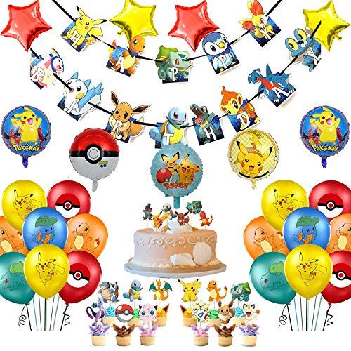 MOLECOLE 59Pcs Pikachu Party Decorations,Pokemons Party Decoration,Pikachu Birthday Party Supplies,Pikachu Party Favor for Kids and Boys