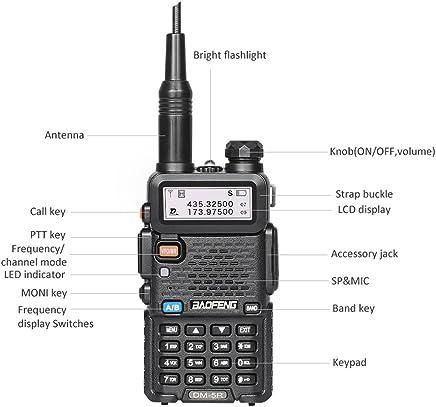 Baofeng DM-5R DMR Digital Analog Two Way Radio Long Range Dual Band Dual Time Slot Ham Amateur Walkie Talkie w/Free Programming Cable, Software, 136-174/400-480MHz, 1024 Channels, 5W