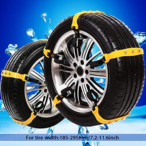 PrettyQueen SUV Car Snow Chains for Trucks Cars Snow Tire Chains for SUV Anti Slip Tire Chain Adjustable Snow Tire Cable Mergency Car Chains 185-295mm/7.2-11.6'' (Black)