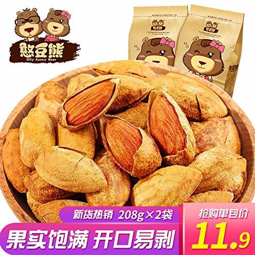 Overseas parallel import regular item 【Snack Foods Max 70% OFF Snacks 憨豆熊 手剥巴旦木208g2袋】大æ