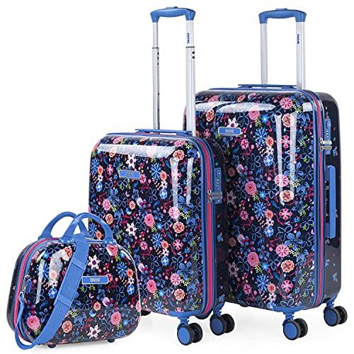 SKPAT - Juego de Maletas de Viaje Rígidas 50/60 con Neceser Beauty Fabricadas con Policarbonato y Cierre TSA 131535, Color Marino