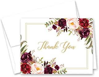 Burgundy Wine Floral Thank You Cards and Envelopes – 50 cnt