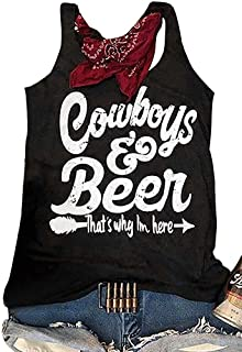 Country Music T Shirt Cowboys Beer That's Why I'm Here Tank Tops Women Letter Graphic Racerback Casual Drinking Tees