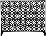 HIZLJJ Cubierta del Protector de Pantalla única Panle Chimenea Chispa con Malla de Hierro Forjado, Fire Guard for Interior/Exterior Chimenea/Estufa, Color: Negro (Color : Black)