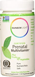 Rainbow Light - Certified Prenatal Multivitamin, Promotes Fetal Development, Energy Levels and Digestion for Mother and Child with Folic Acid and Ginger, Organic, Gluten-Free, Vegetarian, 120 Capsules