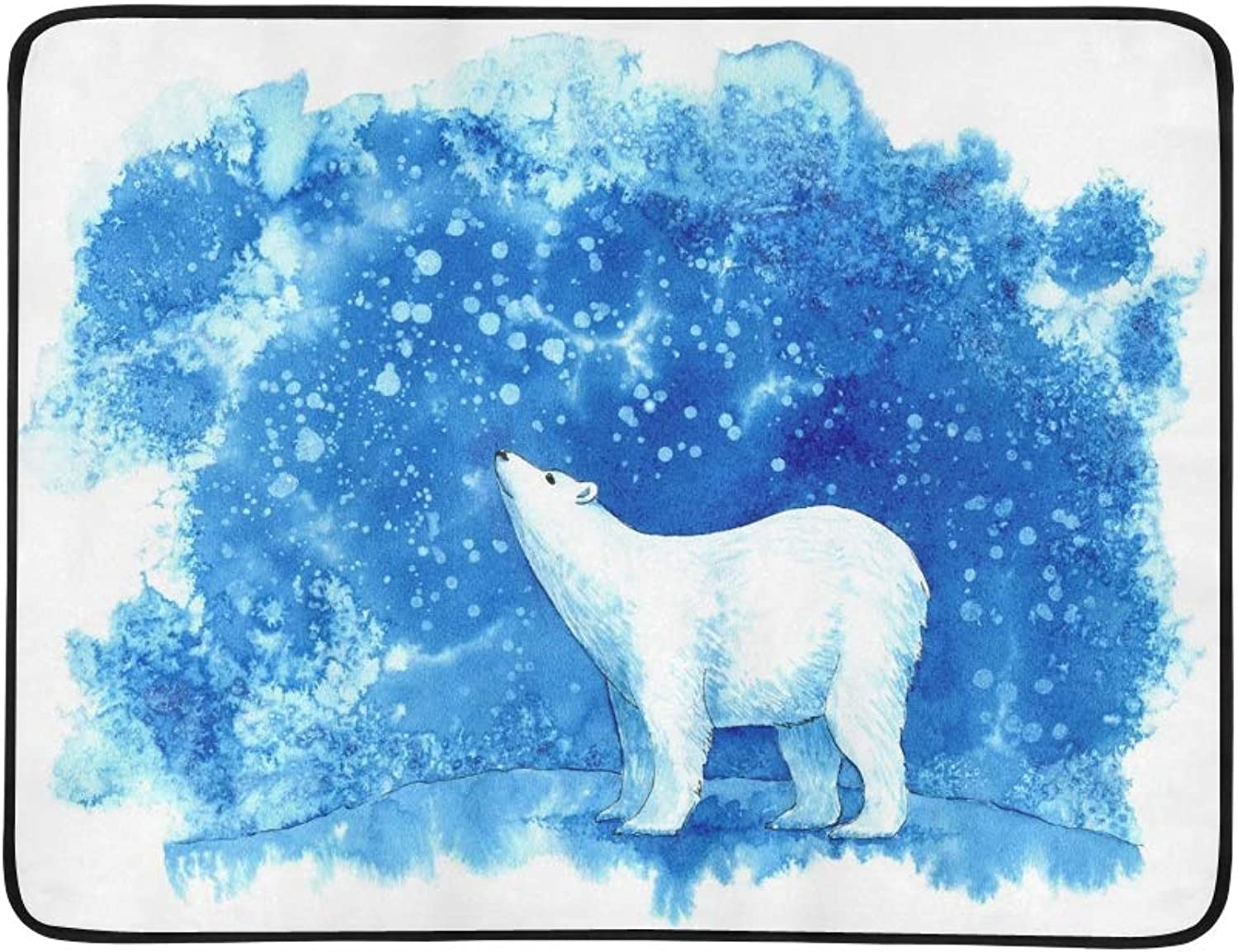 Polar Bearsnowflakes Sky Winter Landscape Animals Portable and Foldable Blanket Mat 60x78 Inch Handy Mat for Camping Picnic Beach Indoor Outdoor Travel