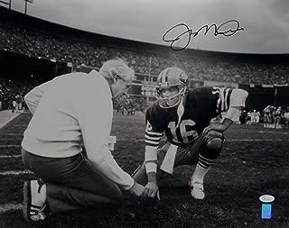 Joe Montana Autographed Black 49ers 16x20 Kneeling With Walsh Photo- JSA W Auth