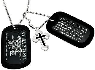 Kriskate & Co. U.S. Navy Seals + Psalm 23:4 Bible Verse Inscription Military Style Aluminum Dog Tag Necklace