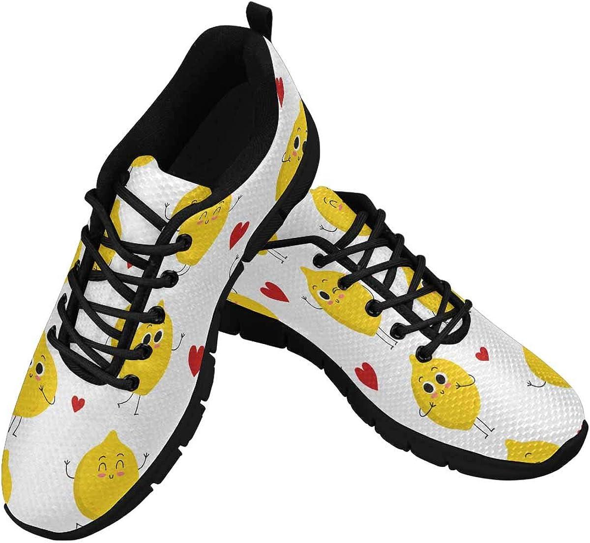 INTERESTPRINT Cute Lemon Heart Women's Athletic Walking Shoes Casual Mesh Comfortable Work Sneakers