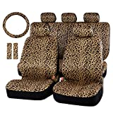 Audel Zebra Car Seat Cover Set with 2 Seat Belt Pads & Universal 15 Inch Steering Wheel Cover Fit for Car, Truck, SUV, or Van (Leopard)