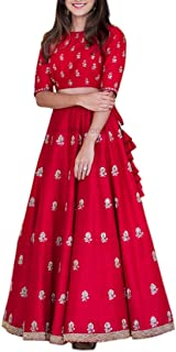 Ethnic Empire Women's Banglory Silk Semi Stitched Anarkali Salwar Suits (Eeas_Ea10628_Red_Free Size)