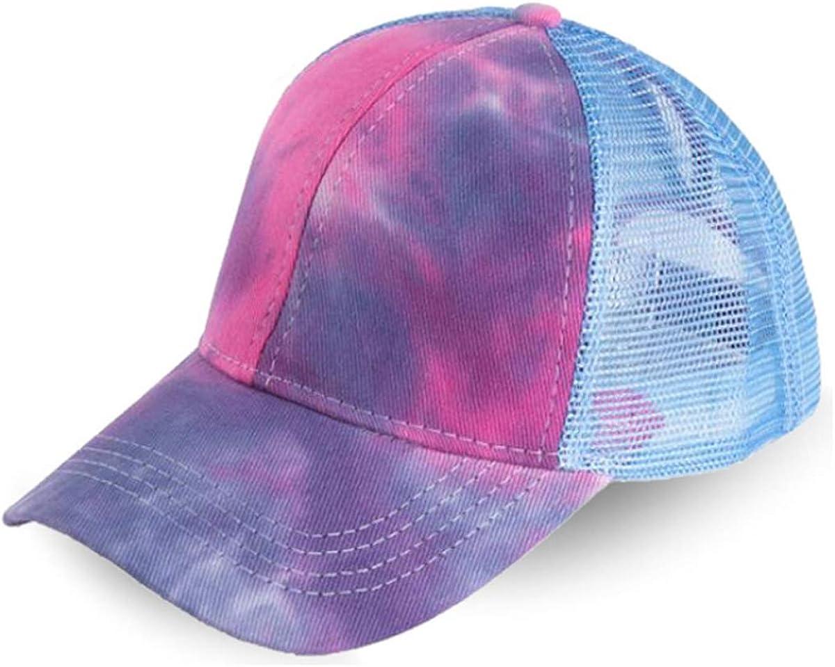 LOKIDVE Women's Tie Dye Ponytail Mesh Trucker Hat Messy High Bun Baseball Cap