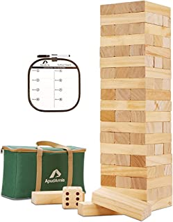 ApudArmis 60 PCS Giant Tumble Tower, Pine Wooden Toppling Timber Game with 1 Dice Set - Classic Block Wood Stacking Game f...
