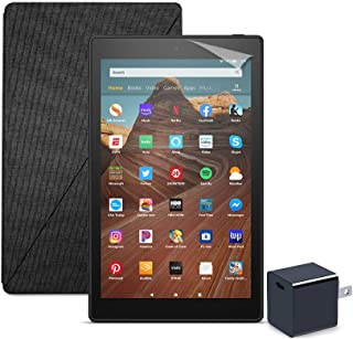 Fire HD 10 Tablet (64 GB, Black, With Special Offers) + Amazon Standing Case (Charcoal Black) + Nupro Screen Protector (2-pack) + 15W USB-C Charger