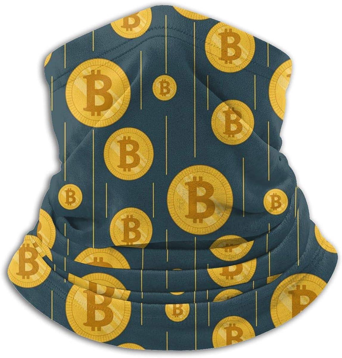 Golden Rain of Bitcoins Soft Fleece Neck Warmer Face Mask