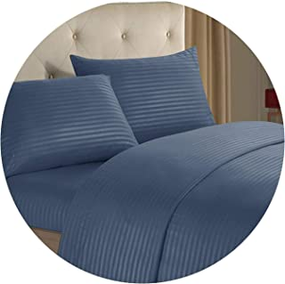 3/4pcs Fashion Bedding Set Stripe Cotton Soft Bedclothes Pure Color Bed Sheet Set,6,King