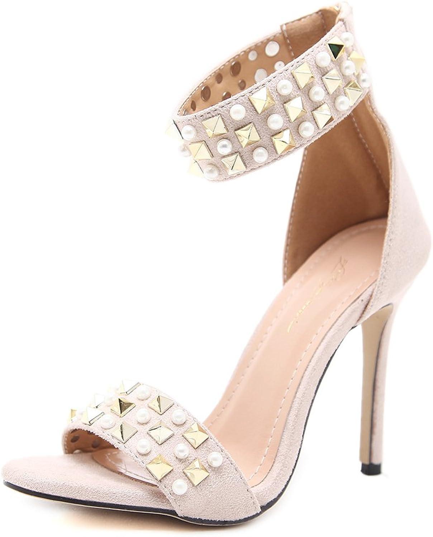 Gusha Word with high Heels Women's Rivets Pearl Sandals Stiletto high Heels Zipper