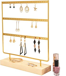 Gold Earring Holder 4-Tier Ear Stud Holder Earring Stand Display Rack Luxury Jewelry Stand Display Holder Hanger Rack Tower with Wooden Tray/Dish for Earrings Necklace Bracelet Rings 69 Holes Gold