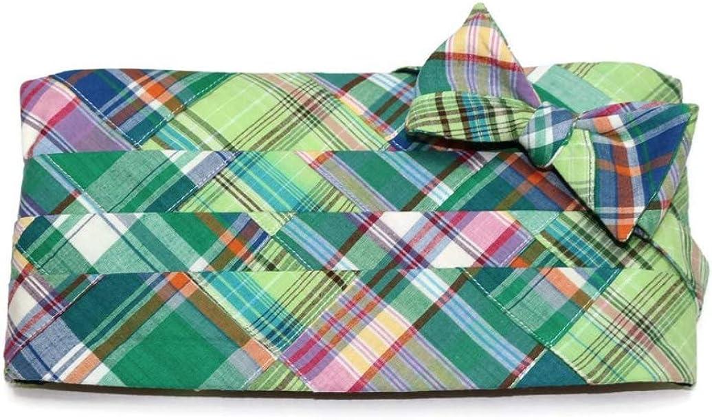 Green Madras Patchwork Plaid Tuxedo Cummerbund and Bow Tie Set