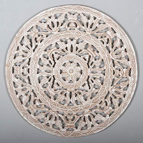 Orientalisches Holz Wandbild Mandala Najib Ø 61cm weiß braun rund handgeschnitzte Wand-Dekoration Shabby Chic aus MDF | hängend & stehend | Kunsthandwerk | Fensterdeko & Weihnachtsdeko | MD4009