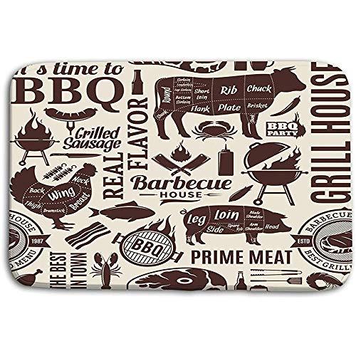 SESILY Fußmatten Teppich typografische Barbecue BBQ Fleisch Gemüse Bier Wein Ausrüstung Icons Cafe Bar geometrische Badematten