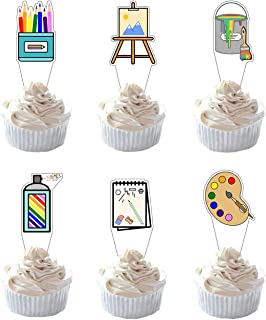 Party Hive 24pc Art Themed Cupcake Toppers for Kids Birthday Party Event Decor