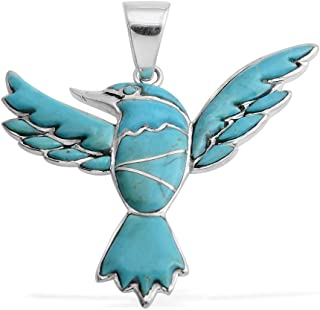 Eagle Pendant Necklace 925 Sterling Silver Mix Blue Turquoise Southwest Jewelry for Women