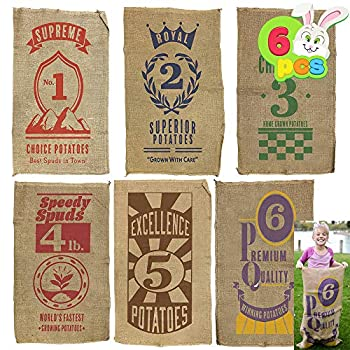 """6 PCs Burlap Bags  40"""" x 24  Potato Sacks Racing Bags for All Ages Kids & Family Carnival Games Party Favor Outdoor Game Activity Outside Lawn Games Party Supplies Décor Props Decorations."""