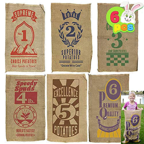"6 PCs Burlap Bags; 40"" x 24"" Potato Sacks Racing Bags for All Ages Kids & Family, Carnival Games Party Favor, Outdoor Game Activity, Outside Lawn Games Party Supplies Décor Props Decorations."