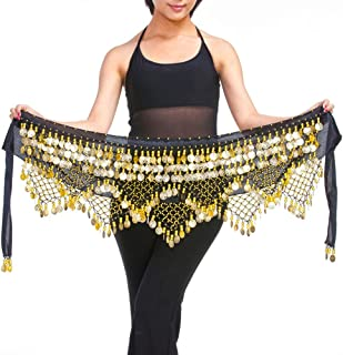 c4987c6a1e LIOOBO Women s Zumba Skirt Bellydance Hip Scarf with Coins Skirts Wrap  Noisy(Black Gold