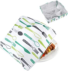 Set of 2 Foldable Insulated Food Cover,Portable Thermal Pop-Up Food Cover, Collapsible Food Tent with Aluminum Foil for Keeping Food Hot(Small+Large)